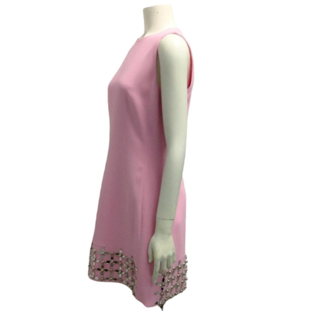 David Koma Pink Silver Gem Embellished Cocktail Dress