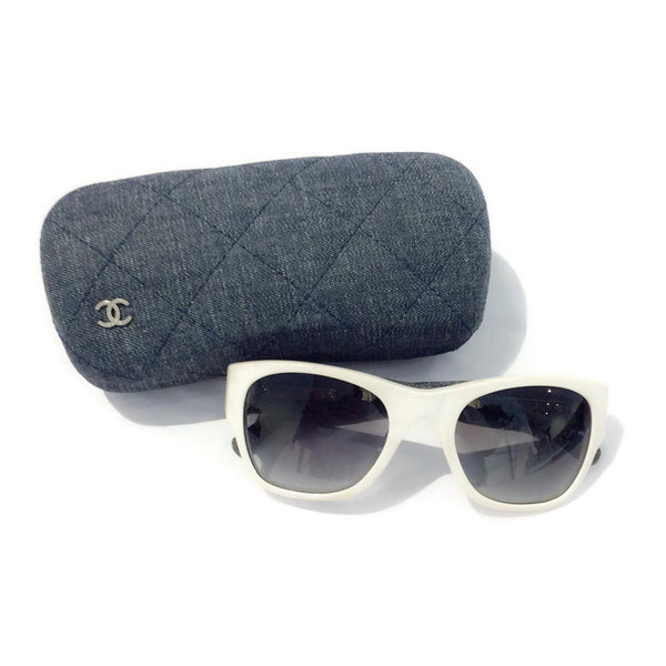 White Sunglasses With Denim Arms by Chanel