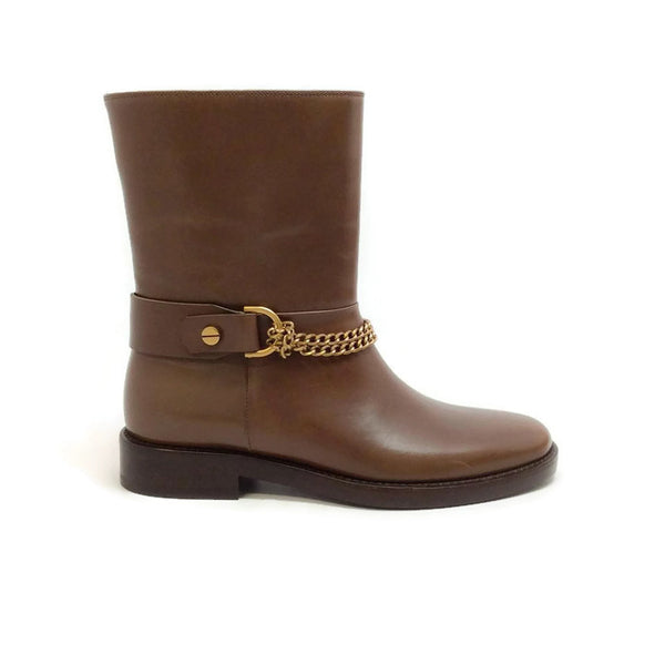 Chain-strap Leather Moto Brown Boots by Lanvin outside
