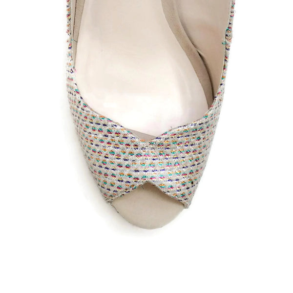 Peron Metallic Jacquard Platforms by Sophia Webster toe