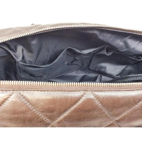 Faux Fur Leather Zip Brown Tote Bag by Chanel interior alternate