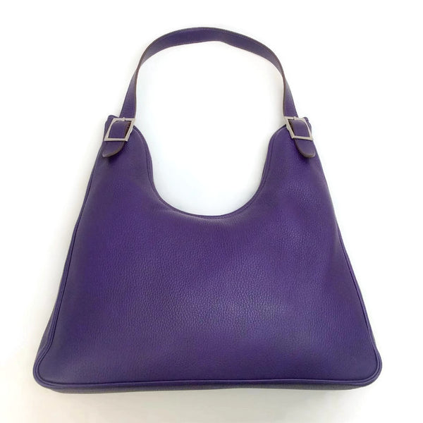 40cm Purple Swift Leather Massai Cut Shoulder Bag by Hermès