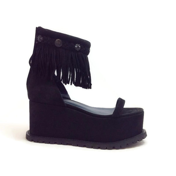 Suede Fringe Platform Black Sandals by Sacai
