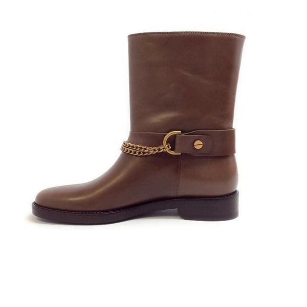 Chain-strap Leather Moto Brown Boots by Lanvin inside