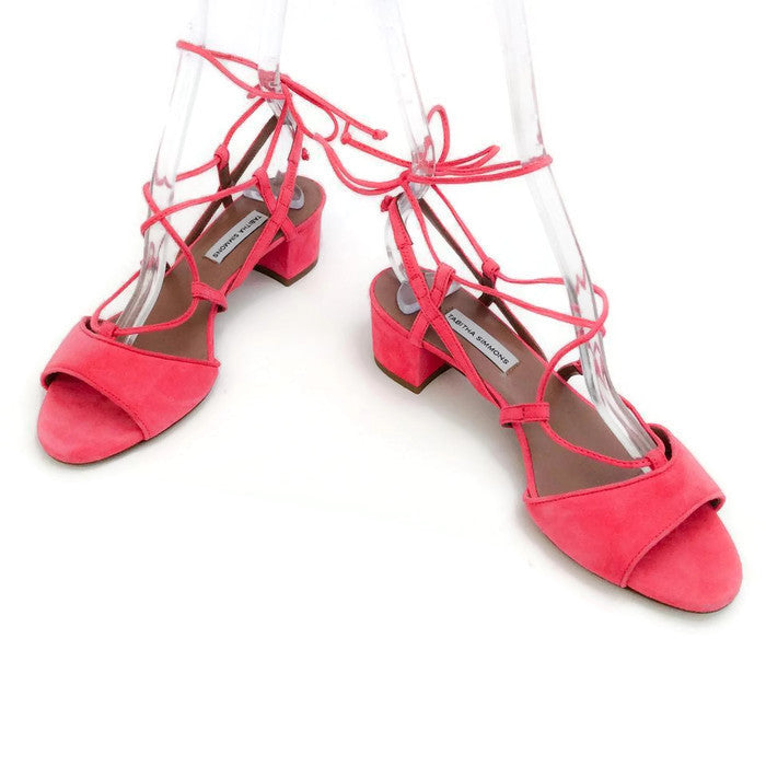Lori Raspberry Lace Up Sandal by Tabitha Simmons pair