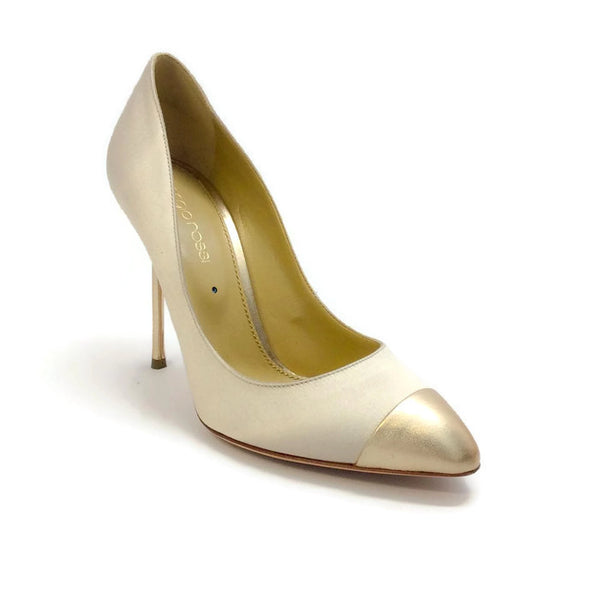 Satin Champagne / Gold Pumps by Sergio Rossi