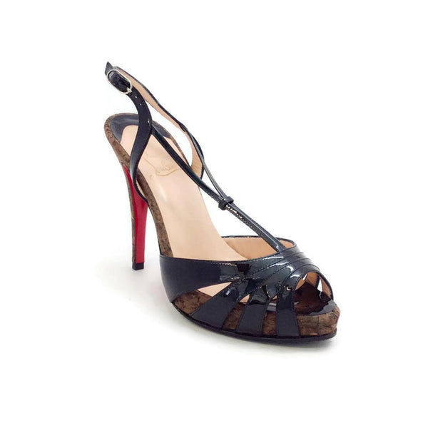 Patent And Cork Activa Black Sandals by Christian Louboutin
