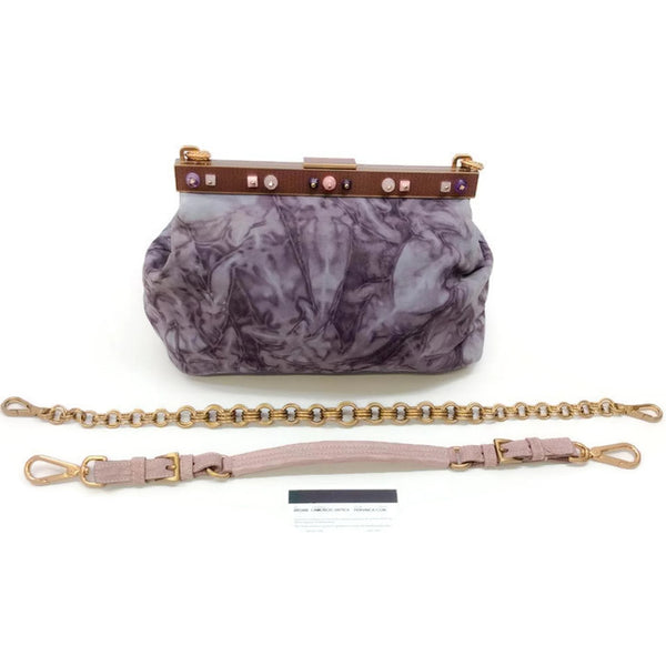 Marbled Suede Lavender Satchel by Prada with accessories