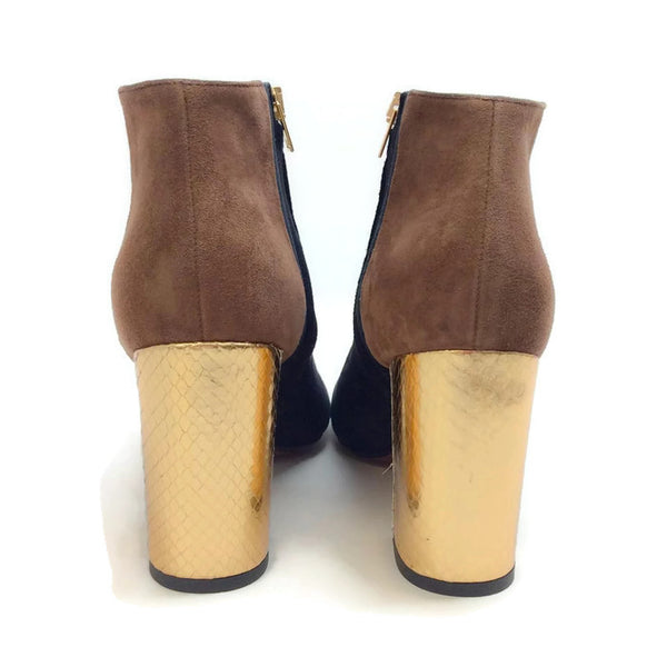 Suede Bootie with Gold Heel by Marni back