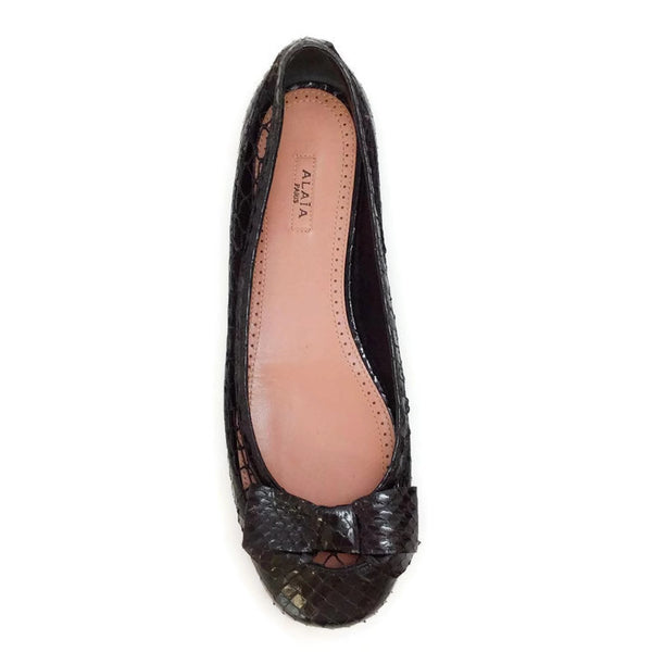 Black Snake With Bow Flats by Alaïa top