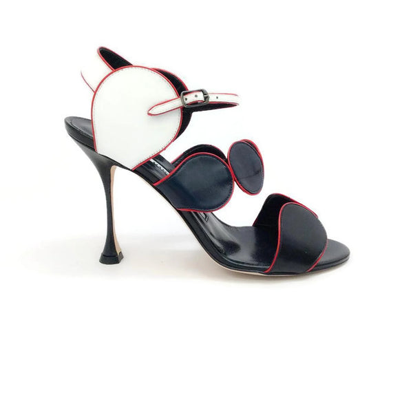 Piped Circle Sandal in Black / White / Red by Manolo Blahnik outside