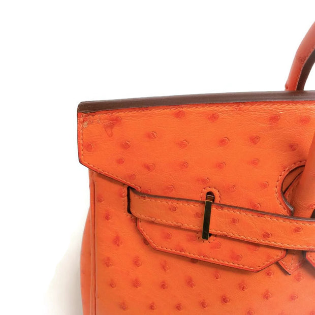 Ostrich Leather Birkin Bag Orange by Hermès imperfection front
