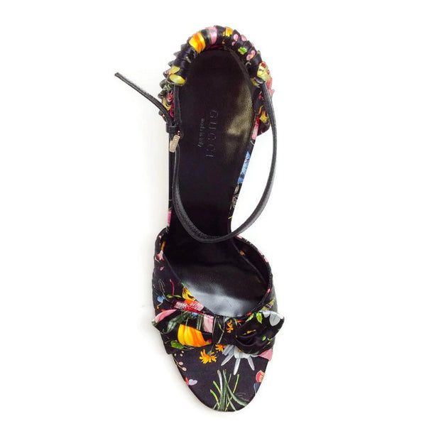 Silk Classic Floral Sandal by Gucci top