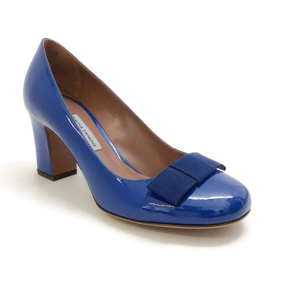 Flora Pump Navy Patent by Tabitha Simmons