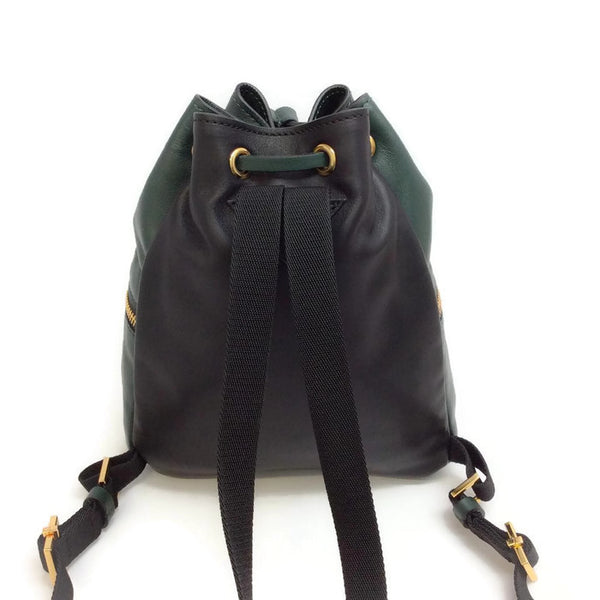 Mini Leather Bucket Backpack by Marni back close