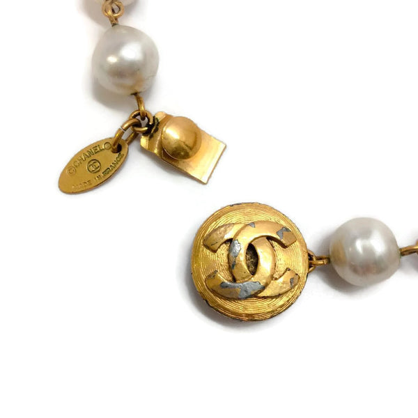 Vintage Early 1980's Pearl and Crystal Necklace by Chanel clasp