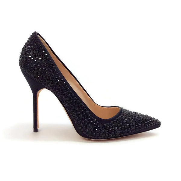 Bb Jet Crystal Coated Satin Black Pumps by Manolo Blahnik outside