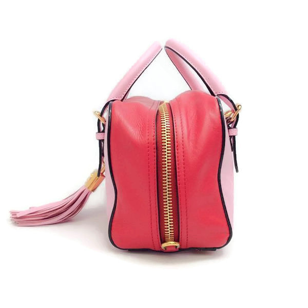 Pink Tassel Satchel by Moschino right side
