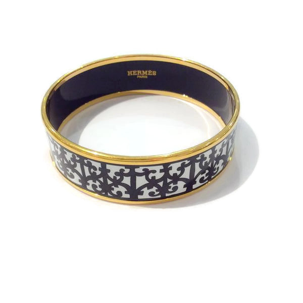 Wide Black / White Bangle With Gold by Hermès