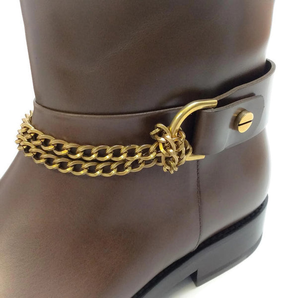 Chain-strap Leather Moto Brown Boots by Lanvin detail