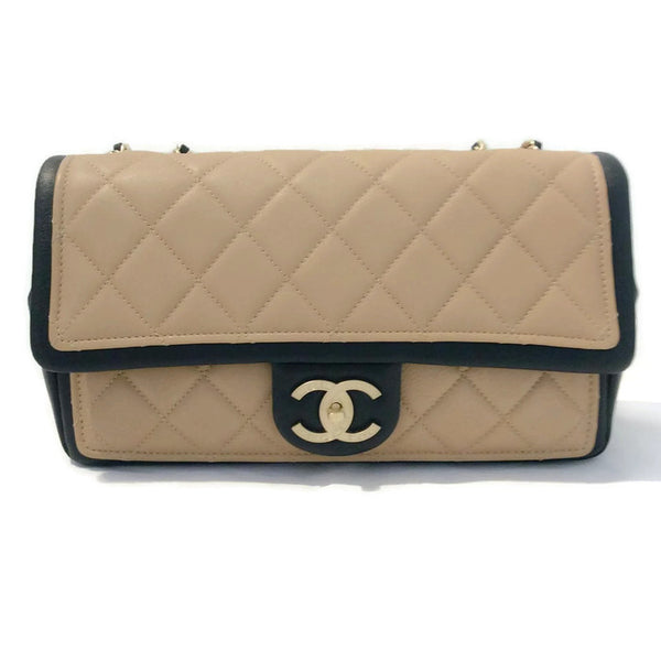 Classic Flap Shoulder Bag Black / Tan by Chanel front
