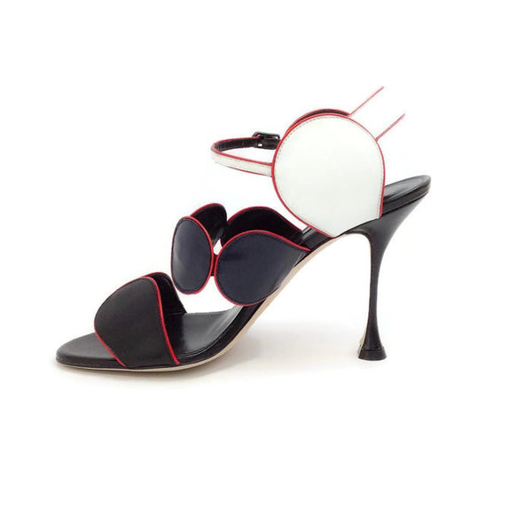 Piped Circle Sandal in Black / White / Red by Manolo Blahnik inside