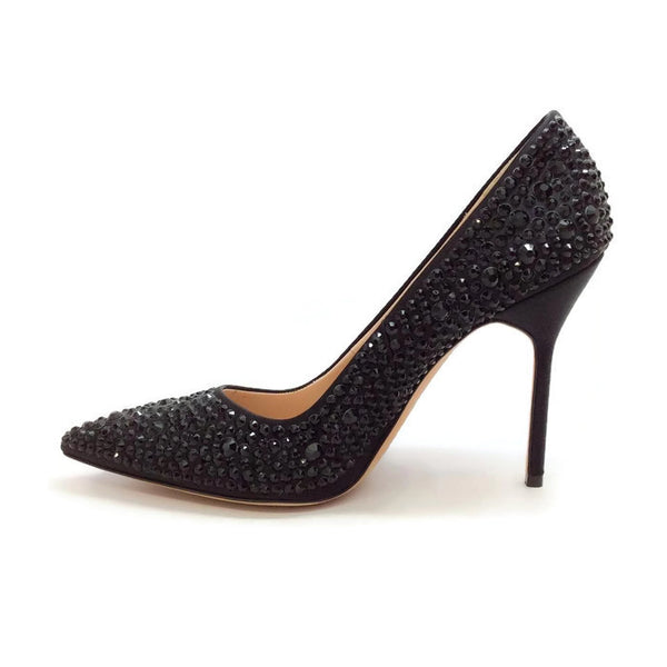 Bb Jet Crystal Coated Satin Black Pumps by Manolo Blahnik inside