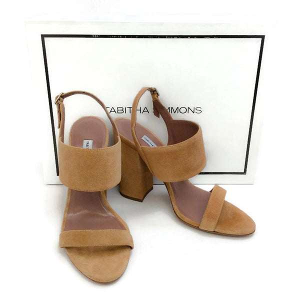 Senna Camel Sandals by Tabitha Simmons with box
