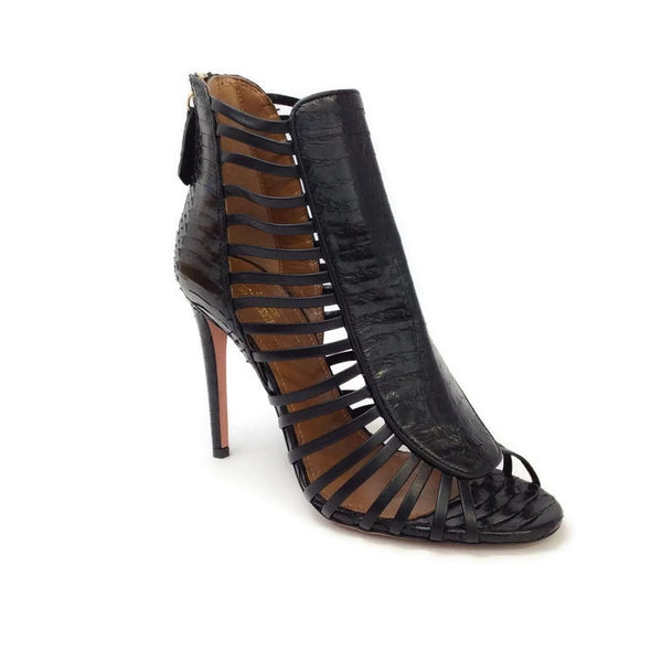 Follow Me Black Sandals by Aquazzura