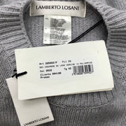 Lamberto Losani Cashmere Grey and Ivory Intarsia Sweater