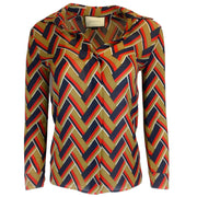 Gucci Chevron Print Silk & Wool Button Down Shirt