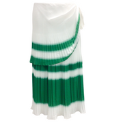 Prabal Gurung White and Green Stripe Pleated Skirt