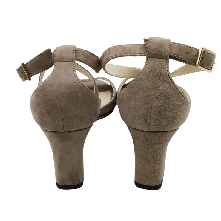 Jimmy Choo Taupe Suede Criss Cross Sandals