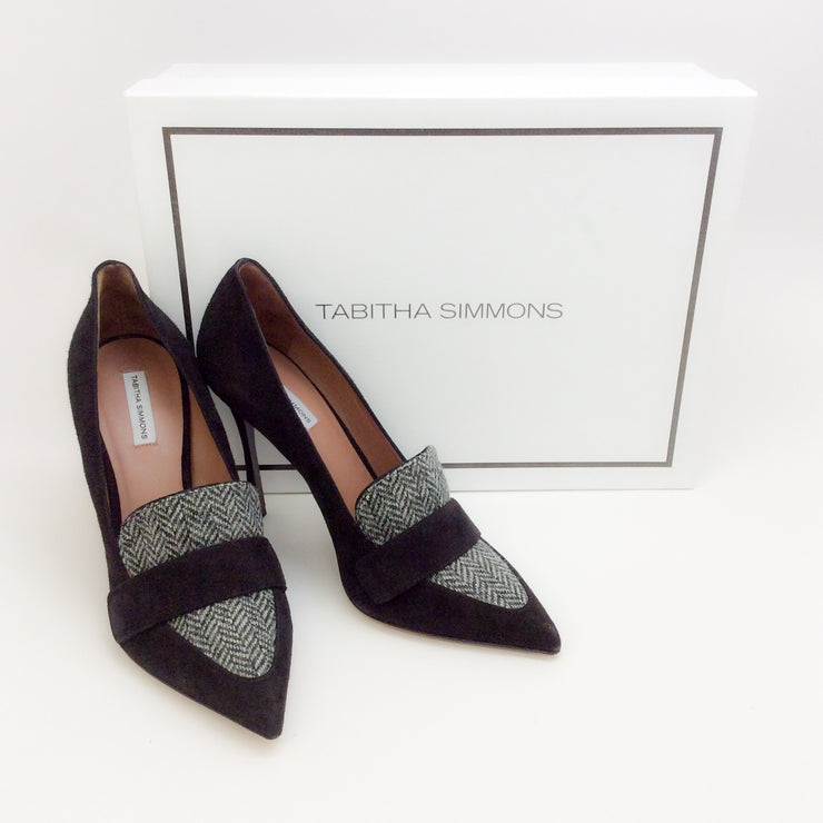Tabitha Simmons Grey / Black Caspian Pumps