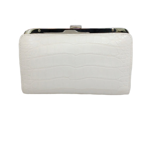 Ralph Lauren White Alligator Skin Leather Frame Clutch