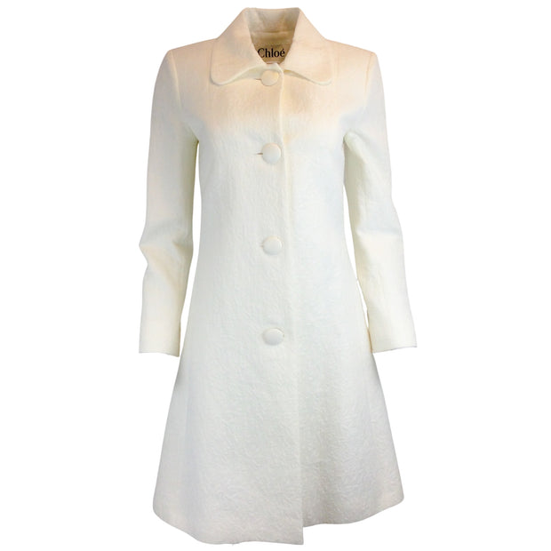 Chloé Ivory Jacquard Cotton Coat