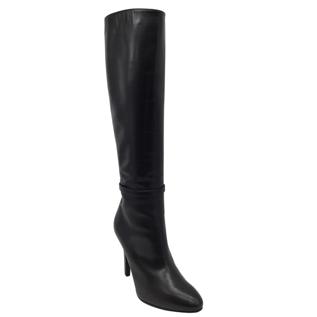 Saint Laurent Black Tall Leather Boots