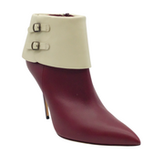 Manolo Blahnik Burgundy and Beige Leather Stiletto Boots