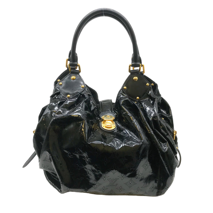 Louis Vuitton Mahina Perforated Black Patent Leather Hobo Bag