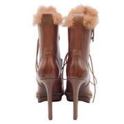 Donna Karan Cognac Leather and Rabbit Fur Trim Lace Up Boots