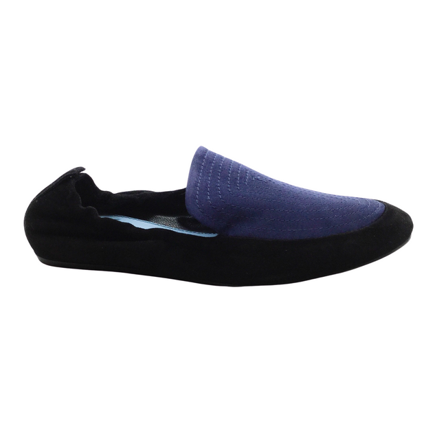 Lanvin Black and Navy Suede with Satin Slippers