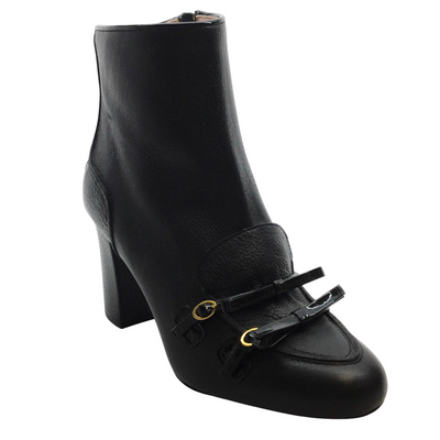 Boutique Moschino Black Double Bow Ankle Boots
