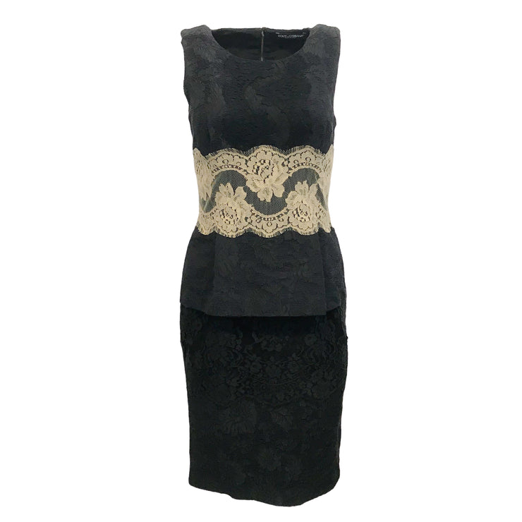Dolce&Gabbana Black/Nude Peplum Dress