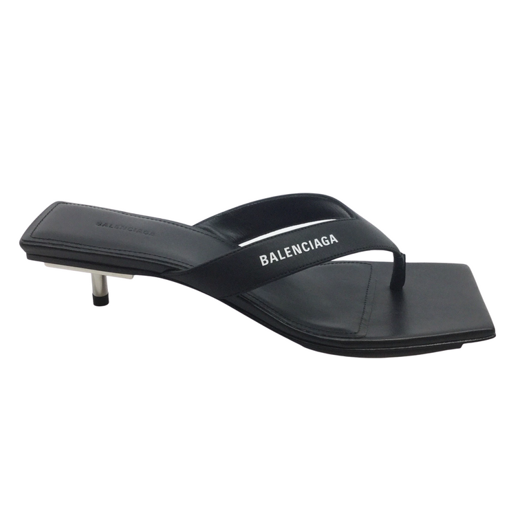 Balenciaga Black and Metal Square Toe Sandals