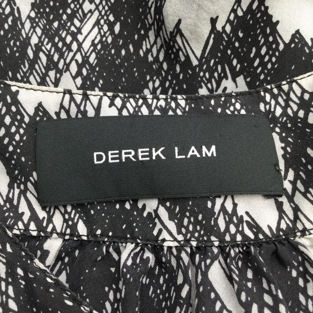 Derek Lam Black & Grey Printed Short Sleeved Dress
