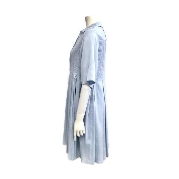 Carven Light Blue Pleated Sleeve Dress