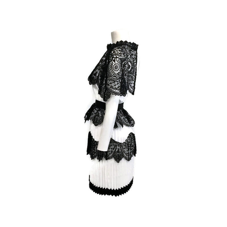 self-portrait White / Black Lace Cape Cocktail Dress
