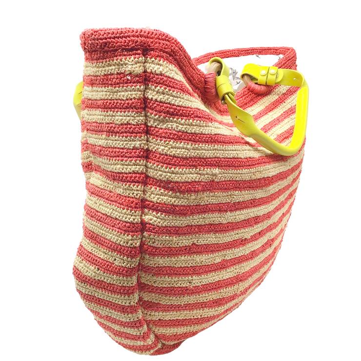 Jamin Puech Coral and Natural Striped Straw Tote