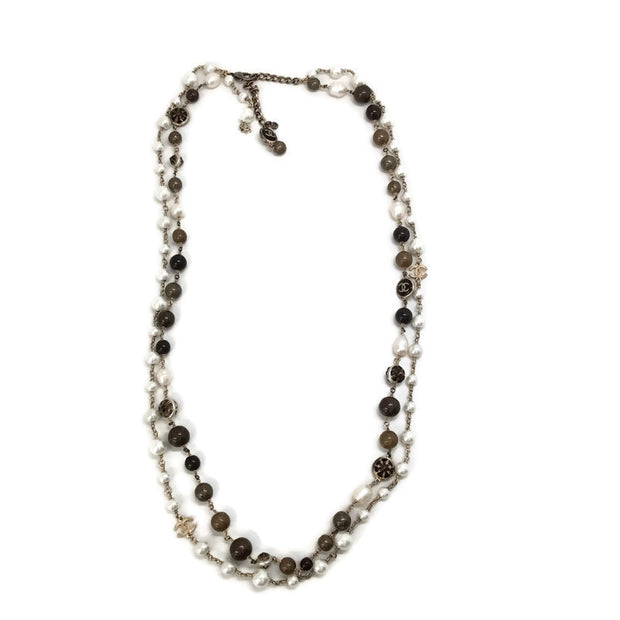 Chanel Faux Pearl / Bronze 2009 Double Strand Necklace