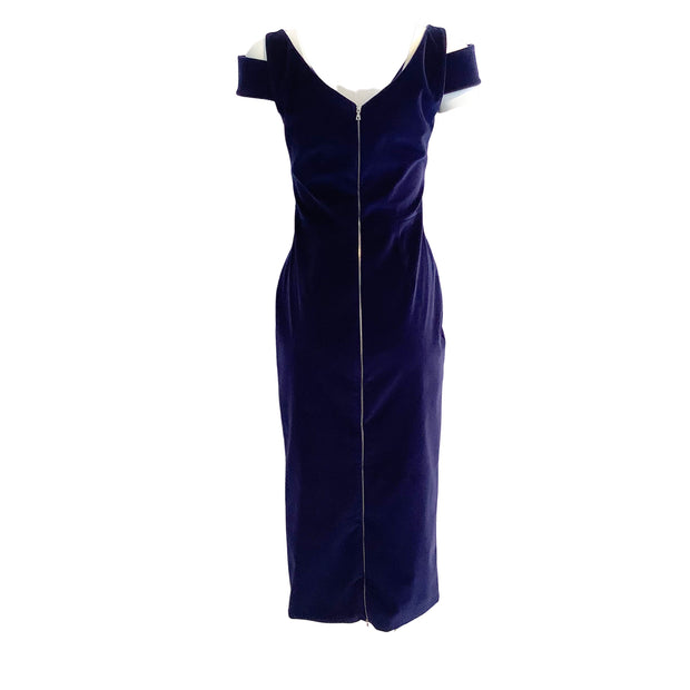 David Koma Navy Velvet Midi Dress